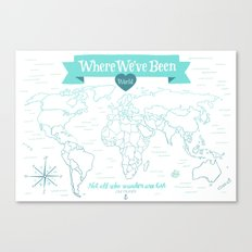 Where We've Been, World, Icy Blue Canvas Print