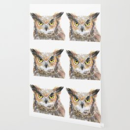 Owl Great Horned Owl Watercolor Wallpaper