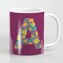 Floral Type - Letter A - Wine Berry Coffee Mug