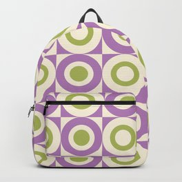 Mid Century Square and Circle Pattern 541 Lavender and Chartreuse Backpack
