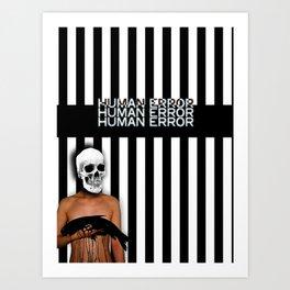 Human Error Skull Holding Fish Covered in Oil Art Print