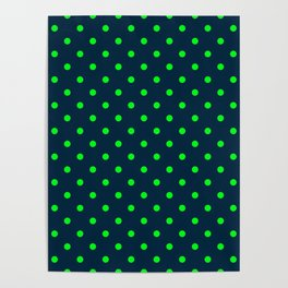 Navy and Neon Lime Green Polka Dots Poster
