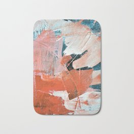 Interrupt [3]: a pretty minimal abstract acrylic piece in pink white and blue by Alyssa Hamilton Art Bath Mat