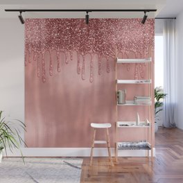 Dripping in Rose Gold Glitter Wall Mural