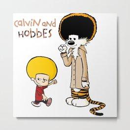 Calvin And Hobbes Duo Afro Metal Print