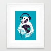 budi Framed Art Prints featuring Record Bear by Picomodi