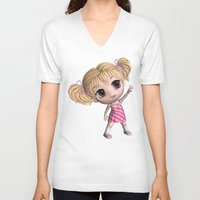 chibi V-neck T-shirts featuring Chibi Girl by ChibiGirl