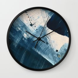 Against the Current [2]: A bold, minimal abstract acrylic piece in blue, white and gold Wall Clock