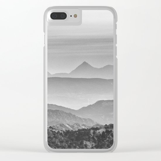 """""""Mountain dreams"""". At sunset. BW Clear iPhone Case"""