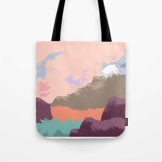 Pink Sky Mountain Tote Bag