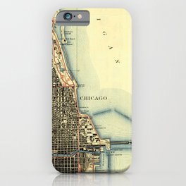 Chicago Colorful Map, vintage map year 1929 iPhone Case