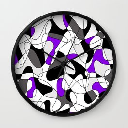 Abstract pattern - purple, gray, black and white. Wall Clock