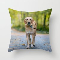 mickey Throw Pillows featuring MICKEY by Jen Grantham Photography