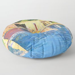 Sir John Lavery - A blue swimming pool at Cannes - Digital Remastered Edition Floor Pillow