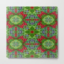 Red and Green Geometric Design #2204 Metal Print