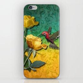 Hummingbird Gold Roses & Damask iPhone Skin