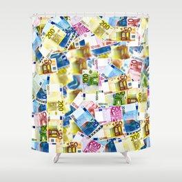Bold Colorful Euros Pattern - Money - LOA - Abundance - Cash Shower Curtain