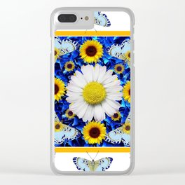 EVERYTHING'S COMING UP DAISIES & BUTTERFLIES  BLUE  ART Clear iPhone Case