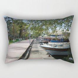 Tour Boats Lining Dalyan River Rectangular Pillow