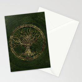 Tree of life -Yggdrasil -green and gold Stationery Cards