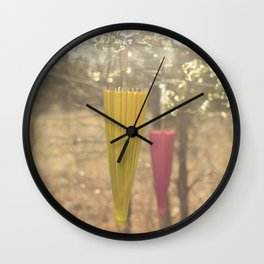 Pink Lemonade Parasol, Umbrella, Nature, Bokeh  Wall Clock