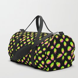 The pattern of neon blots. Abstract pattern of rainbow blots on a black background. Duffle Bag