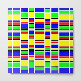 Retro Stacks in Red Blue Green and Yellow Metal Print