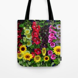 ENGLISH HOLLYHOCKS & SUNFLOWER GARDEN Tote Bag