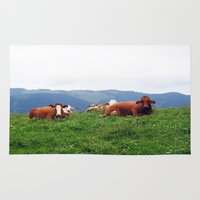 cows Area & Throw Rugs featuring Relaxing Cows by BACK to THE ROOTS
