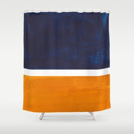 Navy Blue Yellow Ochre Abstract Minimalist Rothko Colorful Mid Century Color Block Pattern Shower Curtain