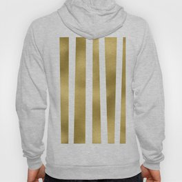 Gold unequal stripes on clear white - vertical pattern Hoody