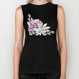 Desert Succulents on White Biker Tank