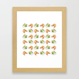 Watercolor Coffee and Croissant Pattern Framed Art Print