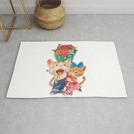 Present a bunch of roses Rug