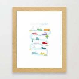 Cute Cars Print Framed Art Print