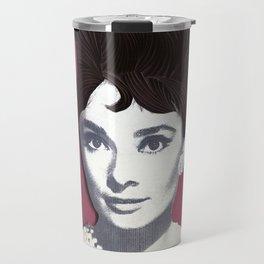 Audrey Hepburn Paper Art Print Travel Mug