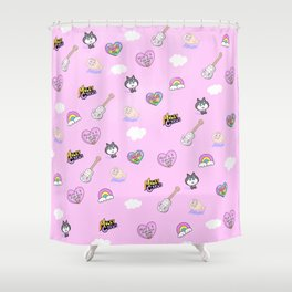 Miley in the Sky with Rainbows Shower Curtain