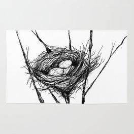 Bird Nest Ink Drawing Rug