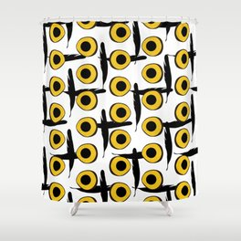 Snowy Owl Eyes Feathers Pattern Shower Curtain