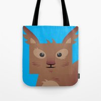 furry Tote Bags featuring Furry Squirrel by Yay Paul