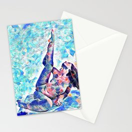 3047-JPC Abstract Nude in Blue Green Yoga Stretch Feminine Power Stationery Cards