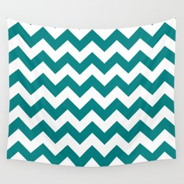 Chevron (Teal/White) Wall Tapestry