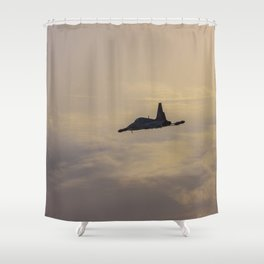 Turkish military acrobatic airplane in backlight Shower Curtain