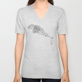 Bubbles the Snow Leopard Unisex V-Neck