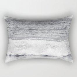 Black and White Ocean Wave Photography, Grey Seascape, Gray Neutral Sea Landscape, Coastal Waves Rectangular Pillow