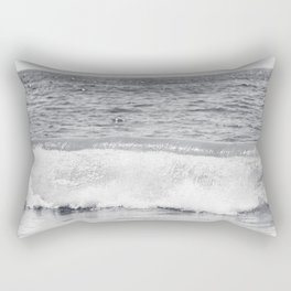 Black and White Ocean Wave Photography, Grey Seascape, Gray Neutral Sea Landscape, Coastal Waves Rectangular Pillow