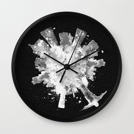 Rio de Janeiro, Brazil Black and White Skyround / Skyline Watercolor Painting (Inverted Version) Wall Clock