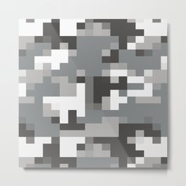 Army Camouflage Pixelated Pattern Snow Mountain Metal Print