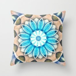 Nature's Sepia Beauty Flower Kaleidoscope Throw Pillow