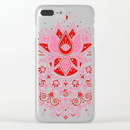 Lotus Blossom Mandala – Red & Pink Palette Clear iPhone Case